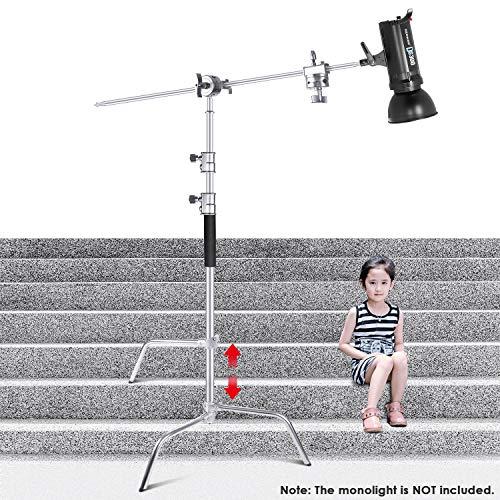 Neewer C-förmiger Ständer 149-309cm Galgenstativ aus Edelstahl mit 120cm Auslegearm und Griffkopf für Studio Video Reflektor, Softboxen, Schirme, Monolicht und andere Fotoausrüstung