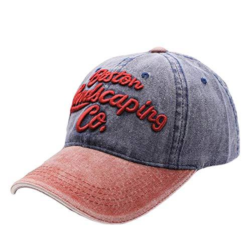 Sanjiayi Hohe Qualität Washed Denim Baseball Cap Männer Frauen Zwei Töne Hysteresenkappe Knochen Lässige Baumwolle Stickerei Ausgestattet Hut,Navy -