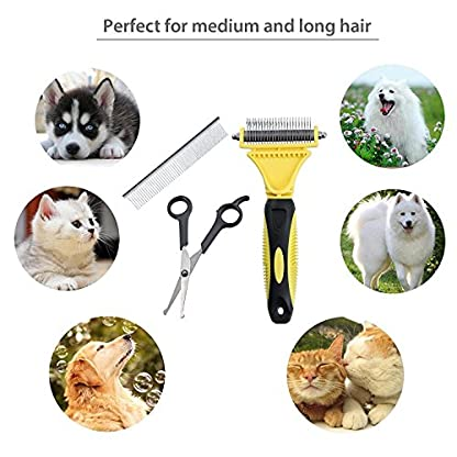 Neoteck Grooming Comb 3 Pieces Pet Grooming Dematting Comb Tool Kit Stainless Steel Double Sided Professional Dematting… 6