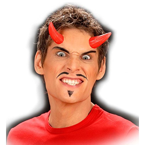NET TOYS Rote Teufelshörner Satan Hörner zum Ankleben Devil Horns Dämon Latexhörner Teufel Kostüm Zubehör Halloween ()