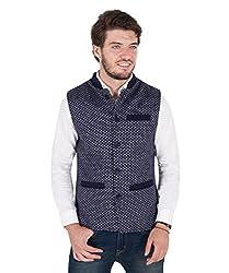 Zoravie Mens Patterned Cotton Sleeveless Nehru Jacket, Dark Blue