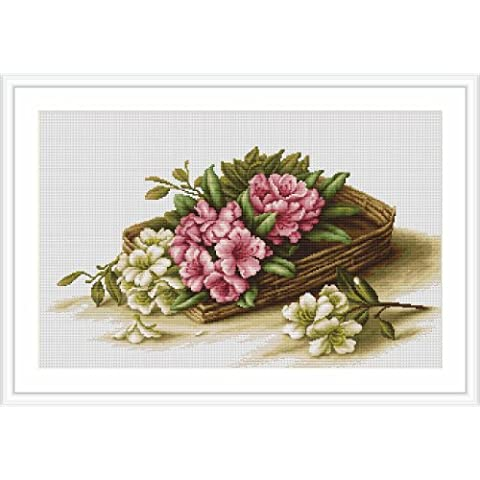 Luca-S - Juego de punto de cruz, diseño de cesta con flores