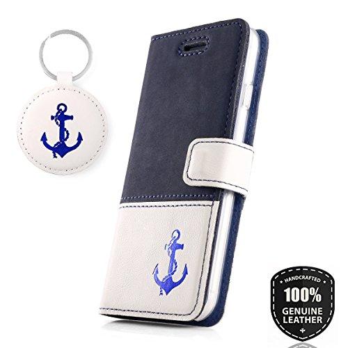 SURAZO Anker Blau - Premium Vintage Ledertasche Schutzhülle Wallet Case aus Echtesleder Nubukleder und Pastelleder Farbe Blau - Weiß für Huawei Mate 10 Pro (6,00 Zoll)