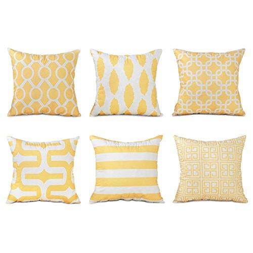Top Finel 6er Set Weiche Kissen Kissenbezüge Bedrucken Platz Dekorative Kissenhülle in verschiedene Muster 45x45 cm, Gelb Serie (3 Stück Dekorative Kissen)