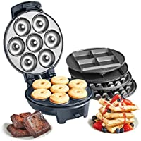 VonShef 3-in-1 Waffle Maker, Brownie & Doughnut Maker | Removable Non-Stick Plates, Cool Touch Body & Matte Black Design | 700W
