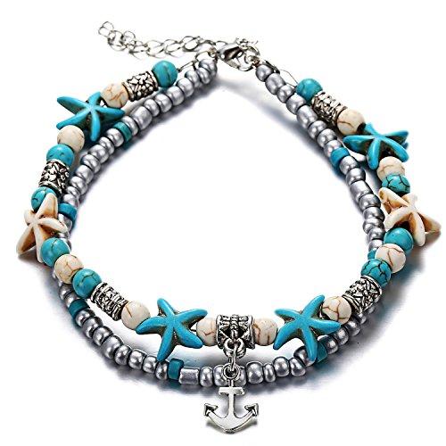 Kenyg Cavigliera da donna a doppio filo, con perle e ciondolo a forma di elefante, onda, albero o cuore, accessorio da spiaggia e Lega, colore: Anchor, cod. LN273