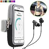 Asosmos iPhone X/8/7/6/6S Brassard, brassard de sport pour Samsung Galaxy S5/S6/S7/S8/S9avec trou pour écouteurs et réfléchissant Sangle, convient pour la course à pied, cyclisme, randonnée, Jogging, gym d'exercice