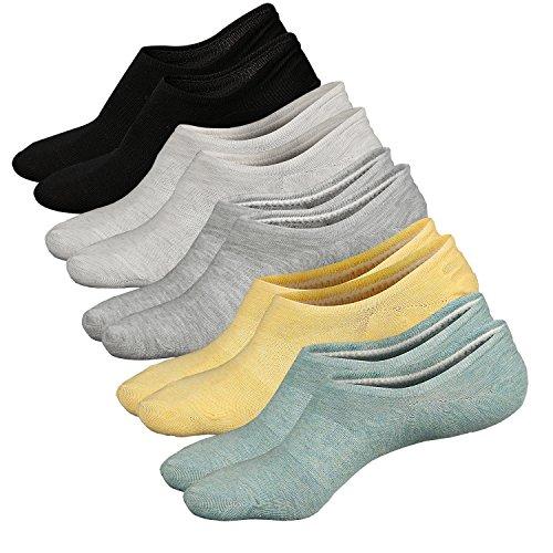 Ueither Damen Unsichtbare Sneaker Socken Baumwoll Kurzsocken Sport Socken für Loafers Boots Schuhe mit Rutschfest Silikon (Schuhgröße:36-43, Farbe 2)