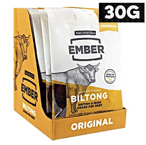 Ember Biltong - Gras gefüttert Beef Jerky Steak. Proteinreicher Snack - Kein Zucker Gesunder Snack, 10 x 30g Beutel (Original)