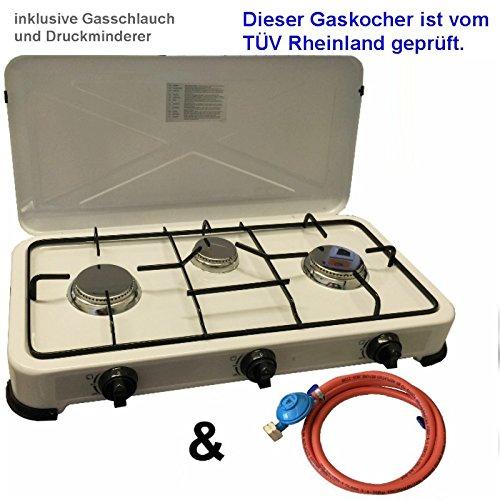 Camping Gaskocher Hochwertiger 3 flammiger Kocher / Lieferung inklusive 150cm Anschlussschlauch und Druckminderer