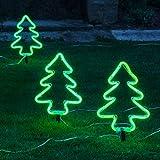 Lights4fun 3er Set Neon Tannenbäume 12V Weihnachtsbeleuchtung aussen