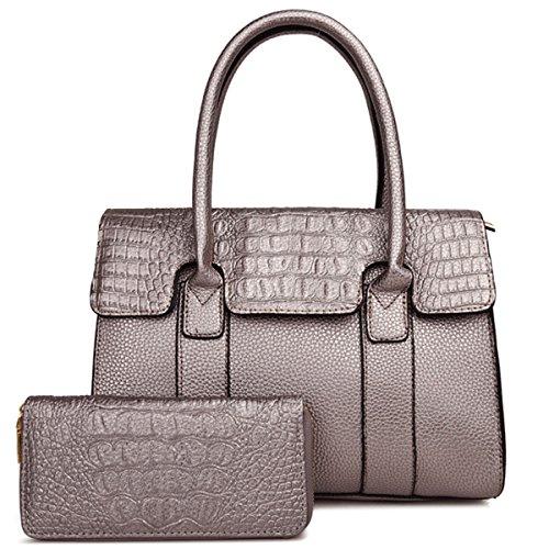 Handtaschen Beutel Set Geldbörsen Set Für Frauen Umhängetaschen Top-Griff Tasche Krokodil Patter PU Leder Messenger Bags Für Damen Mädchen Champagne