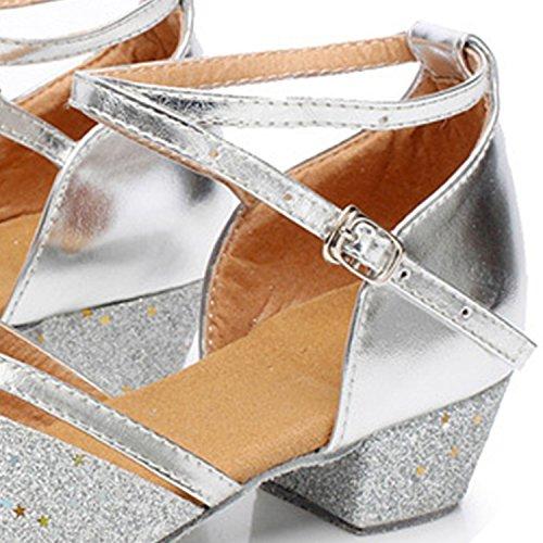 Oasap Girl's Open Toe Sequins Cross Strap Low Heels Latin Dance Shoes Silver