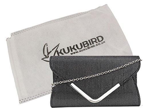 Kukubird Katie Shimmer semplice busta pochette borsa con sacchetto raccoglipolvere Kukubird Pewter