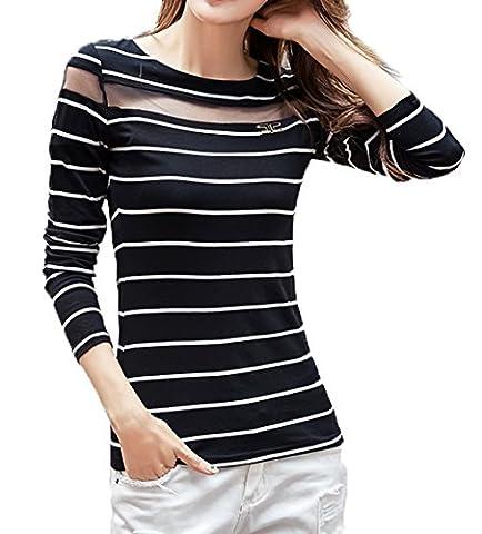 Women's Sexy Hollow Long Sleeve Stripe Slim Sweatshirt Pullover Tops Shirt