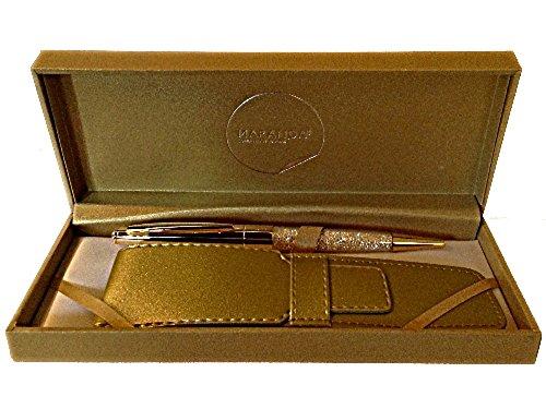 Maranda-Ti Gold-Swarovski Kristall schwarzer Tinte Kugelschreiber für Damen - Leichte Kugelschreiber 22g - Gold-Kasten 18 x 8 cm - Luxus Goldabdeckung