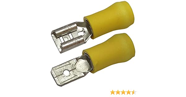 Aerzetix: 10 x Kabelschuhe Kabelschuh flach 4.8mm 0.5mm 0,1-1mm2 m/ännlich Klemme