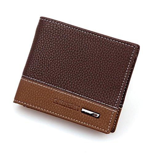 Internet Carte Bifold titulaire portefeuille porte-monnaie en cuir de hommes 11.6cm * 9.6cm * 2.2cm (Brun)