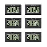 Thlevel 6X Mini LCD Digital Thermometer Temperatur Luftfeuchtigkeit Tester Hygrometer für Kühlschrank Aquarium -50°C~+70°C (6 PCS A)