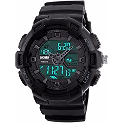 Unitedeal Men's Waterproof Dual Time Quartz Digital Outdoor Sports Alarm Stop Watch Calendar Rubber Wrist Watch Black
