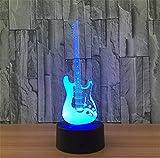 SUGER-LIGHT Gitarre 3D Lampe LED Täuschung Nachtlicht Illusion Lampe Schreibtisch Lampe Weihnachten Geschenk für Tabelle Dekoration 7 Farben Geschaltet Berühren Sensor Schlafzimmer LED-Licht