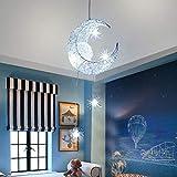 ALLOMN LED Suspension, Plafonnier Lampe de Fée Lune et étoiles Lustre de Chambre à Coucher Grand Cadeau Pour Enfant Ami (Blanc Froid)...