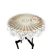"""Mantel redondo de encaje y ganchillo QEES (ZQ04), hecho a mano, algodón, con diseño de flor de piña; para muebles, bodas, decoración, algodón, Blanco, 28"""" diameter"""