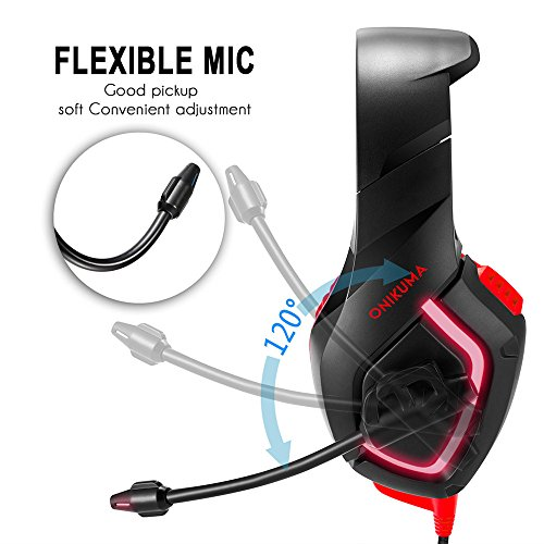 SUImeito Onikuma PC-Gaming-Headset für PS4 Xbox One, 3,5 mm Stereo USB LED Kopfhörer mit Gaming Headset rot