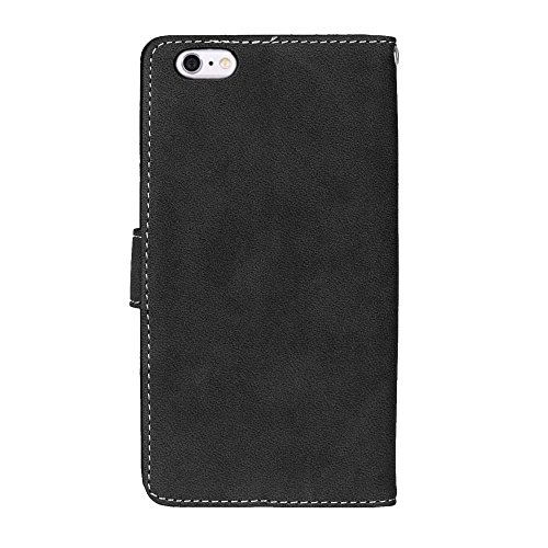 Voguecase® für Apple iPhone 7 4.7 hülle,(London Bus) Kunstleder Tasche PU Schutzhülle Tasche Leder Brieftasche Hülle Case Cover + Gratis Universal Eingabestift Retro bereift/Schwarz
