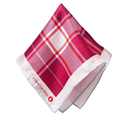 VON FLOERKE Handrollierte Einstecktuch 100% Seide – 30x30cm – mit Check Muster – Bordeaux – hochwertige Kavalierstücher/Pochette für Herren
