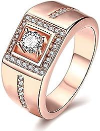 Eleganti anelli multistrato da uomo, con zirconi cubici disposti a quadrato, misure da 18,3 a 19,9 mm