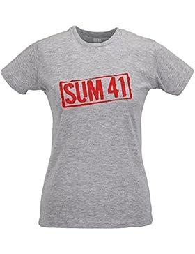LaMAGLIERIA Camiseta Mujer Slim Sum41 Red Print - T-Shirt Punk Rock 100% Algodòn Ring Spun