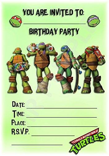 Geburtstags-/Partyeinladung, Motiv: Superhero Teenage Mutant Ninja Turtles mit Skateboard,Partydeko/Zubehör (12Stück, A5Einladungen)