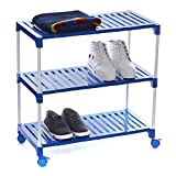 Dhani Creations Smart Multipurpose Rack Organizer for Shoe/Clothes/Books with Wheels, 3 Shelves (Blue)