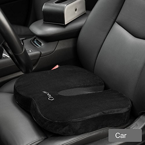Aimjerry cuscino memory foam ufficio e cuscino per sedile comfort allevia il mal di schiena, lavabile copertura, black, 17.5x15x3 inch