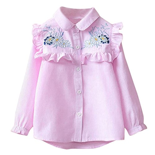 Yukong Baby Girls Striped Tops Floral Embroidery Shirt Blouse Kids Single Breasted Ruffle Cloth (Pink, Size:3T)