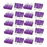 sourcingmap® 20Stk. 3A Auto Sicherung LKW SUV Sicherungen Miniatur Klinge Sicherung Lila