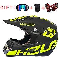 Casco de Descenso para Adultos Regalos Gafas máscara Guantes BMX MX ATV DH Carrera en Bicicleta de Cara Completa Casco Integral,C,M(56~57) CM