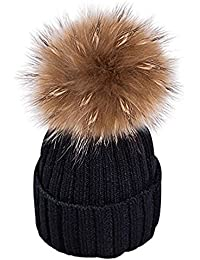 84b26049a654 xwanli Wurm Bonnet d hiver en Tricot avec Gros Pompon Ski Bonnet à Pompon et