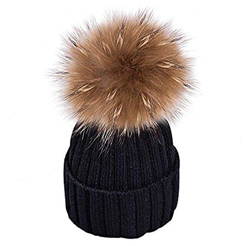 Wurm Invierno Gorro para Mujer Cristales Kiesel con Borla Grande Pelo Pompon  – Gorro de esquí c7eb7e7da37