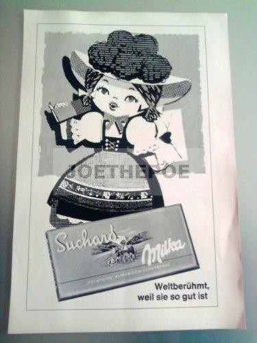 60er Jahre : SUCHARD MILKA/MOTIV MÄDEL-LIEBESBRIEF - alte Werbung /Originalwerbung/ Printwerbung /Anzeige /Anzeigenwerbung Format 15,5 x 27,5 cm