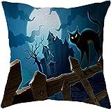 SHUCHANGLE (2pcs/Set Halloween Thema Leinen Kissenbezug Horror Burg Und Katze Muster Bunte Dekorative Hause Kissenbezüge