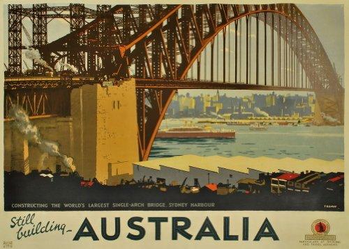 World of Art Vintage Travel Australia für Sydney Harbour Bridge. Noch Building Australien Propagandaplakat 250GSM, glänzend, A3, vervielfältigtes Poster (Sydney Harbour Bridge Poster)