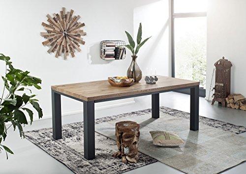 Table à manger 220x100cm - Métal et Bois massif de chêne sauvage huilé (Tabacco brown) - VILLANDERS #320