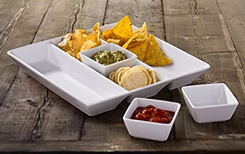 4 Piece White Porcelain Chip and Dip Tray Set