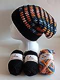 my boshi Häkelset Mütze 2 x schwarz, Eisvogel C7 wie abgebildet m. 150g myboshi Lara's Creations Anleitung (Set 1: Wolle + Label)
