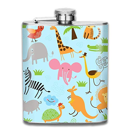 cute flasks Set With Cute Winter Animals Tragbare Leder-Edelstahl-Flachmann-Whisky-Wein-Topf-Flagon-Taschen-Flasche - 7 Unze - Benutzerdefinierte Leder-set