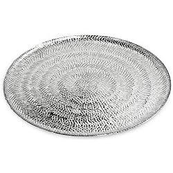 Edzard–Bandeja para Servir/Plato Malvina niquelado Aluminio, Redondo, diámetro 30cm