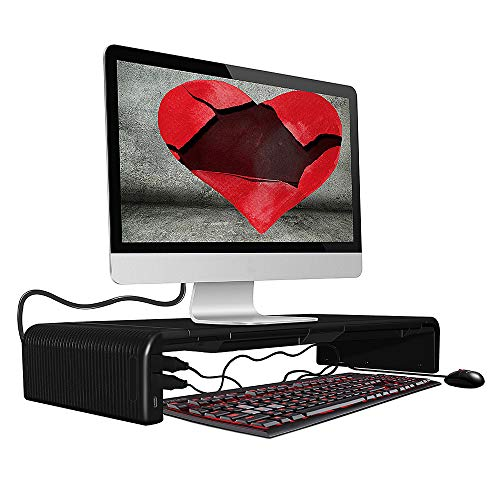 DIYOO Soporte Ajustable para Monitor Soporte Monitor PC Inteligente, Amplia Pantalla Elevador para Monitor del Ordenador/Portátil/TV/Impresora, con Funcion de hub, 47cm*20cm*8cm, Negro