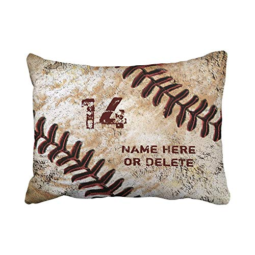 (TEPEED Pillowcases Jersey Number and Name On Vintage Baseball Can Customized Cushion Decorative Pillowcase Polyester 20 x 30 Inch Rectangl Standard Size Pillow Covers Hidden Zipper)